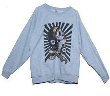 Mexican Skull Sweatshirt Goth Tattoo Style Graphic Printed Jumper Unisex Grey