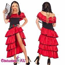 Ladies Spanish Mexican Flamenco Latin Dancer Costume Can Can Saloon Dancing Fan