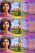 LOT Easter Island, 3 x 2500 (2,500) Rongo, 2011, Polymer, UNC