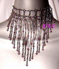 Wedding Bridal Prom Choker Necklace Purple Mauve Waterfall Wag Moulin Burlesque