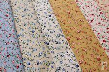 FLOWER & GREEN STEMS - PRINTED POLYCOTTON FABRIC - WIDTH 112 CM - Free UK p&p