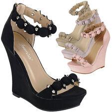 Women Open Toe High Heel Platform Wedge Sandal Pump Stud Bead Button Ankle Strap