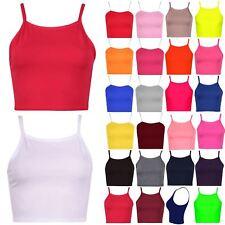 Ladies Womens Sleeveless Plain Camisole Strappy Stretch Vest Bra Cami Crop Top