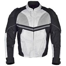 Men Motorcycle Textile Multi Season Jacket Black White/Gray MBJ068
