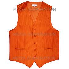 New Men's Tuxedo Vest Waistcoat Vertical Stripes only prom wedding party Orange
