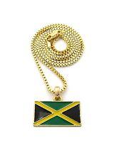 "Jamaica Jamaican Rasta Rastafari Flag Pendant Charm 24"" Chain Necklace Jewelry"