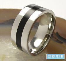 Männer Fingerring Edelstahl Ring silber poliert Linie schwarz Herren 60/63/66/68