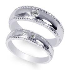 Men/Ladies Couple 10K White Gold Round CZ Wedding Solid Band Size 4-12