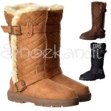 Womens Girls Ella Wide Calf Quilted Biker Fur Lined Flat Winter Snug Boots 3-8