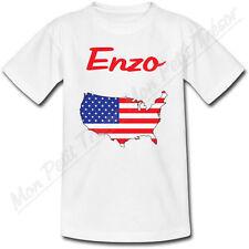T-shirt Enfant Carte USA avec Drapeau avec Prénom Personnalisé