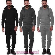 Tuta uomo pantalone felpa cappuccio sport cerniera zip elastico nuova S6605