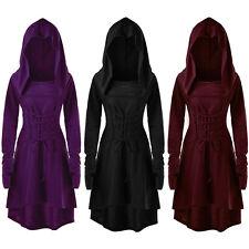 Women Halloween Retro Renaissance Gothic Costume Medieval Gown Hooded Midi Dress