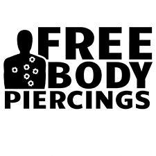 Free Body Piercings Gun Shot Decal Vinyl Sticker Car Window Wall Logo Wounds 2nd