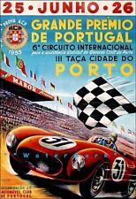 Portugal Grande Primero 1955 Grand Prix Car Race Vintage Poster Print Auto Sport