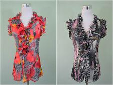 Womens Sleeveless Casual Chiffon Ruffle Neck Silky Blouse Shirt sz 10 12 14 AX34