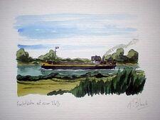 ORIGINAL AQUARELL - Frachtkahn auf einem Fluß.
