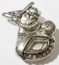 broche pendentif rétro bijou vintage joueur de base ball couleur argent * 2647