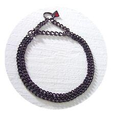 Herm Sprenger Negro Acero 2mm doble fila Enlace Collar de martingala pulido plano