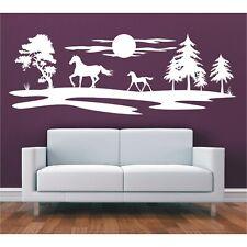 Landschaft Wandtattoo  Bäume Feld Wiese Perd Ponny Sonne Sticker Wandaufkleber