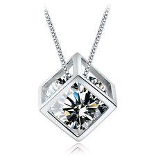 Tono argento CZ Cristallo riempito Collana con Ciondolo Cubo gioielli catena UK NL173