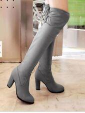 botas muslo mujer tacón alto 8.5 cm gris cómodo caldi como piel 9398
