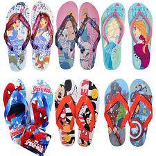 Childrens Kids Disney Frozen Mickey Sofia Cinderella Spiderman Avenger Flip Flop