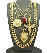 Gold Lion Angel Medusa Gem Stone Pendant Rope Cuban Link Snake Box Chain Set