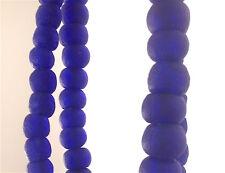 BEAUTIFUL FAIR TRADE ARTISAN UNENHANCED RECYCLED GLASS BEADS COBALT BLUE RARE