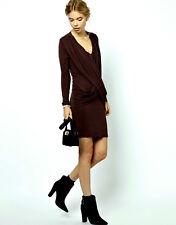 NWT $239 Danish Designer GANNI Wool Mix Wrap Front DRESS Ebony UK 6-16