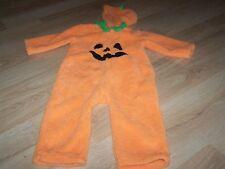 Infant Size 12 Months Pumpkin Jack O Lantern Plush Fleece Halloween Costume EUC