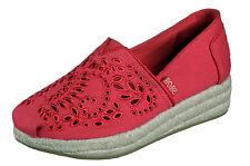 Skechers NEW Highlights Sun Flower red memory foam wedge espadrille shoe 3-8