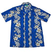 Men Yellow White Hibiscus Luau Party Cotton Blue Hawaiian Aloha Shirt-S-6X