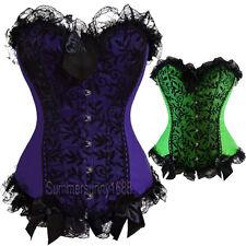 Sexy Plus Size Lingere Satin & Black Lace Green Purple Corset Bridal Wedding H1