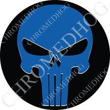 Premium Round 3M Epoxy Gel Domed Decal or Flat Sticker - Blue Punisher Skull Blk