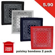 2 Pack Paisley Bandanas Head Wrap Scarf Wrist New Black White Red Navy Cheap