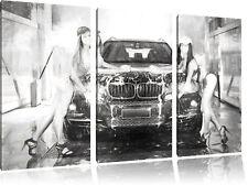 BMW X5 with Girls Kohle Effekt 3-Teiler Leinwandbild Wanddeko Kunstdruck