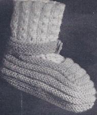Vintage Knitting PATTERN Baby Booties Mary Jane Socks