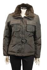 Giacca da donna marrone Chateau cedre piuma con pelliccia e cinta invernale moda