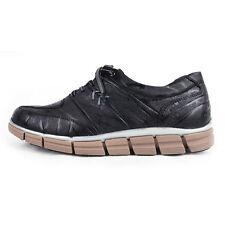 Men's u line stitch geometric lace up wrinkle black leather fashion sneakers