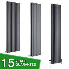 Anthracite Vertical Designer Radiator - Flat Panel, Oval Column, Cast Iron Style