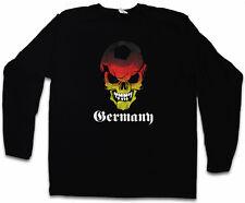 GERMANY GERMAN FOOTBALL SKULL FLAG LANGARM T-SHIRT Germany Deutschland Fußball