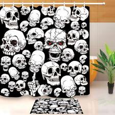 Horror White Skull Shower Curtain Liner Waterproof Fabric Halloween Bathroom Set