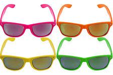 Mirror Lens Neon Sunglasses Shades Hawaiian BBQ Summer Beach 80s 90s Fancy Dress