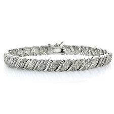 1.00ct TDW Diamond Fancy Tennis Bracelet in Silver Tone Brass
