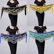 US Plus Size Belly Dance Hip Scarf Wrap Skirt Waist Belt Golden Coin Belt Skirt