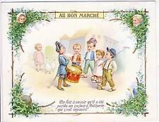 CHROMO MAISON / AU BON MARCHE / ENFANT TAMBOUR OIE / FORMAT 11 x 14 cm