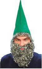 Cappello Nano Verde + Barba Nano Elfo Umpa Lumpa Orc Goblin Costume Accessorio