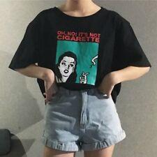 Unisex Girls Harajuku Loose Shirt Character Printed Short Sleeve Blouse Top