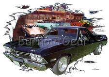1968 Black Chevy El Camino Custom Hot Rod Diner T-Shirt 68, Muscle Car Tee's
