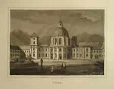 c1870 Kloster Ettal Oberbayern Stahlstich-Ansicht von J. Poppel